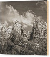 Zion Court Of The Patriarchs In Sepia Wood Print by Tammy Wetzel