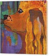Zippy Dog Art Wood Print by Blenda Studio