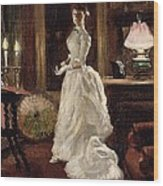 Interior Scene With A Lady In A White Evening Dress  Wood Print by Paul Fischer