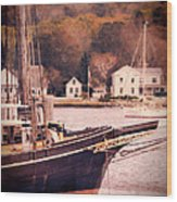Old Ship Docked On The River Wood Print by Jill Battaglia