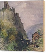 The Castle Of Katz On The Rhine Wood Print by William Callow