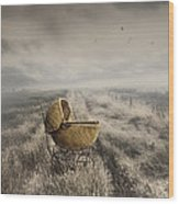 Abandoned Antique Baby Carriage In Field Wood Print by Sandra Cunningham
