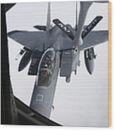 Air Refueling A F-15e Strike Eagle Wood Print by Daniel Karlsson