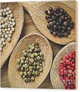 Assorted Peppercorns Wood Print by Elena Elisseeva