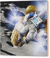 Asteroid Deflection, Astronauts Wood Print by Detlev Van Ravenswaay