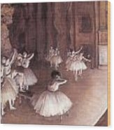 Ballet Rehearsal On The Stage Wood Print by Edgar Degas