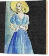 Blue Gown Wood Print by Mel Thompson