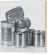 Canned Food Wood Print by Carlos Caetano