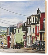 Colorful Houses In Newfoundland Wood Print by Elena Elisseeva
