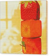 Conceptual Image Of Genetically-engineered Fruit Wood Print by Victor Habbick Visions