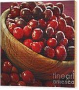 Cranberries In A Bowl Wood Print by Elena Elisseeva