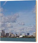 Detroit Michigan Skyline Wood Print by Twenty Two North Photography