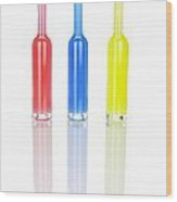 Glass Bottles Wood Print by Joana Kruse