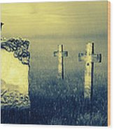 Gravestones In Moonlight Wood Print by Jaroslaw Grudzinski