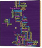Great Britain Uk County Text Map Wood Print by Michael Tompsett