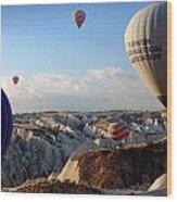 Hot Air Balloons Over Cappadocia Wood Print by RicardMN Photography