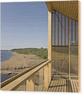 Lakeside Building And Dock Wood Print by Jaak Nilson