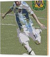Lionel Messi The Kick Art Deco Wood Print by Lee Dos Santos