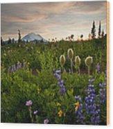 Lupine Sunset Wood Print by Mike  Dawson
