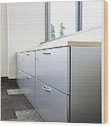 Metal Drawers And Shelf Wood Print by Jetta Productions, Inc