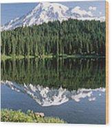 Mt Rainier Reflected In Lake Mt Rainier Wood Print by Tim Fitzharris
