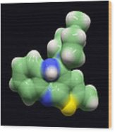 Olanzapine Antipsychotic Drug Molecule Wood Print by Dr Tim Evans