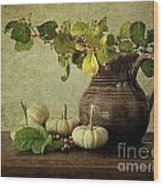 Old Pitcher With Gourds Wood Print by Sandra Cunningham