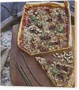 Pizza With Herbs Wood Print by Joana Kruse