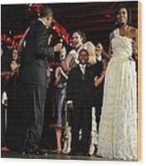 President And Michelle Obama Dance Wood Print by Everett