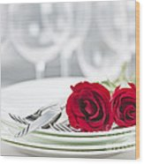 Romantic Dinner Setting Wood Print by Elena Elisseeva