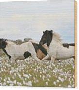 Running Horses Wood Print by Gigja Einarsdottir