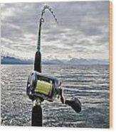 Salmon Fishing Rod Wood Print by Darcy Michaelchuk