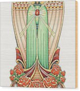 Scroll Angel - Roselind Wood Print by Amy S Turner