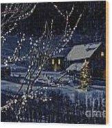 Snowy Winter Scene Of A Cabin In Distance  Wood Print by Sandra Cunningham
