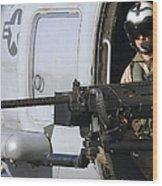 Soldier Mans A .50 Caliber Machine Gun Wood Print by Stocktrek Images