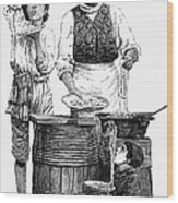 Spaghetti Vendor Wood Print by Granger