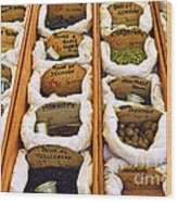 Spices On The Market Wood Print by Elena Elisseeva