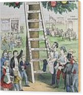 The Ladder Of Fortune Wood Print by Currier and Ives