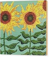 Three Sunflowers Wood Print by Genevieve Esson