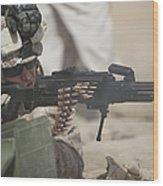 U.s. Marine Firing A Pk 7.62mm Machine Wood Print by Terry Moore