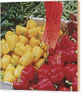 Vegetables At Market Stand Wood Print by Jeremy Woodhouse