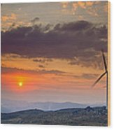 Wind Turbines At Sunset Wood Print by Andre Goncalves