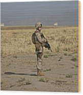 U.s. Marine Patrols A Wadi Near Kunduz Wood Print by Terry Moore