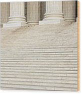 Front Steps And Columns Of The Supreme Court Wood Print by Roberto Westbrook