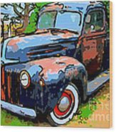 Nostalgic Rusty Old Truck . 7d10270 Wood Print by Wingsdomain Art and Photography