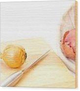 Onions Wood Print by Tom Gowanlock