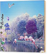 pink Flamingoes Wood Print by Emily Campbell