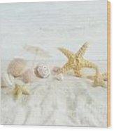 Starfish And Seashells  At The Beach Wood Print by Sandra Cunningham