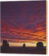 Sunrise Over Monument Valley, Arizona Wood Print by Robert Postma