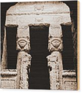 Temple Of Hathor Wood Print by Photo Researchers, Inc.